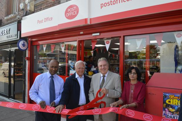 This Is Local London: Mr Evennett revealed the updated store along with Dinker Patel, the owner, his wife and St Michael's ward Councillor Ray Sams.