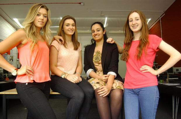 This Is Local London: Left to right: A level students Isabel Cauchi, 18, Katie Everest, 18, Zara Zaidi, 18 and Helen Phillips, 17