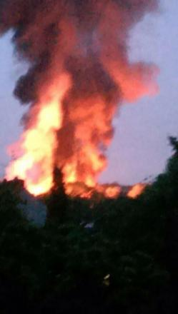 Witnesses reported seeing flames of up to 40ft. Pic tweeted by Millie Louise
