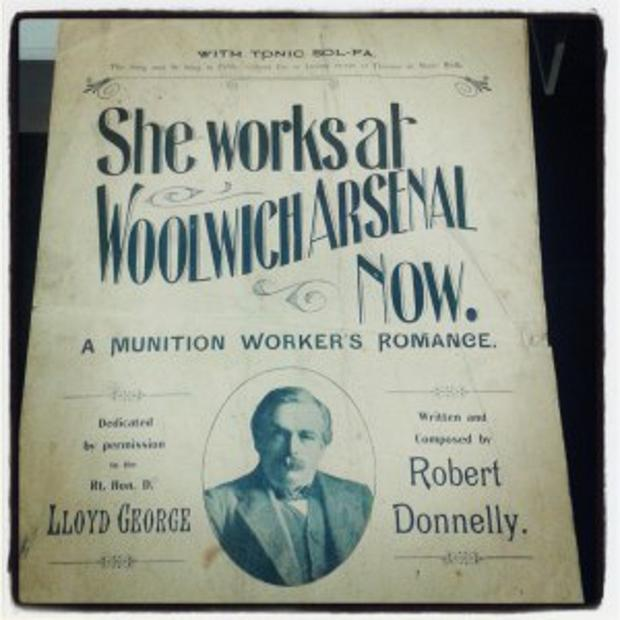 This Is Local London: Front cover of sheet music for She Works at Woolwich Arsenal Now