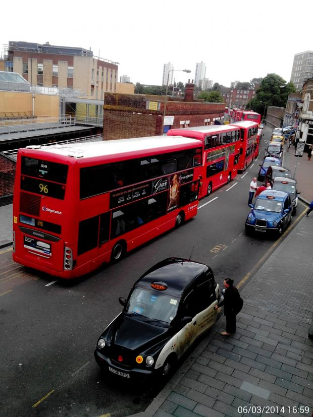 This Is Local London: Buses queuing in Woolwich after the accident
