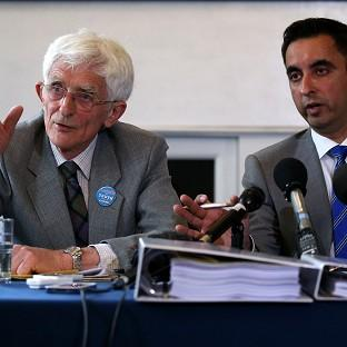 This Is Local London: Dr Jim Swire (left) with solicitor Aamer Anwar (right) as relatives of Abdelbaset al-Megrahi, the only man convicted of the Lockerbie bombing, are to pursue a fresh bid to clear his name