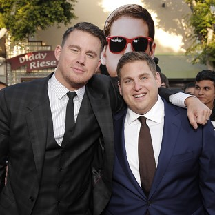 Channing Tatum and Jonah Hill pose together at the Los Angeles premiere of 22 Jump Street