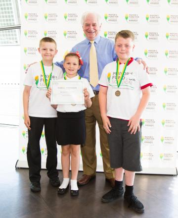 Runners up from Normandy School: (L-R) 10 year old pupils Adam Bagshaw, Ellie Bland and Ben Ramsden