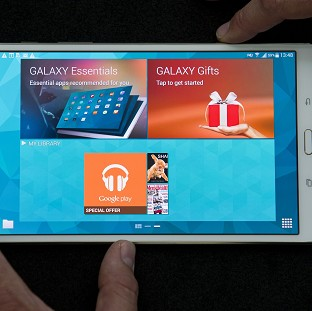 Samsung unveil their new Galaxy Tab S 8.4 inch model at Canary Wharf in London.