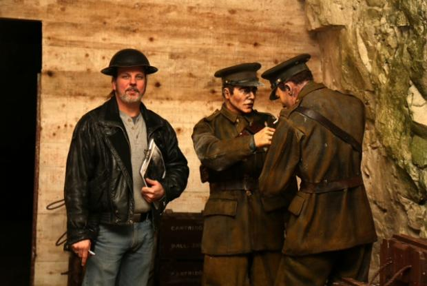 Jason Desporte and 'WW1 soldiers' in the Chislehurst Caves