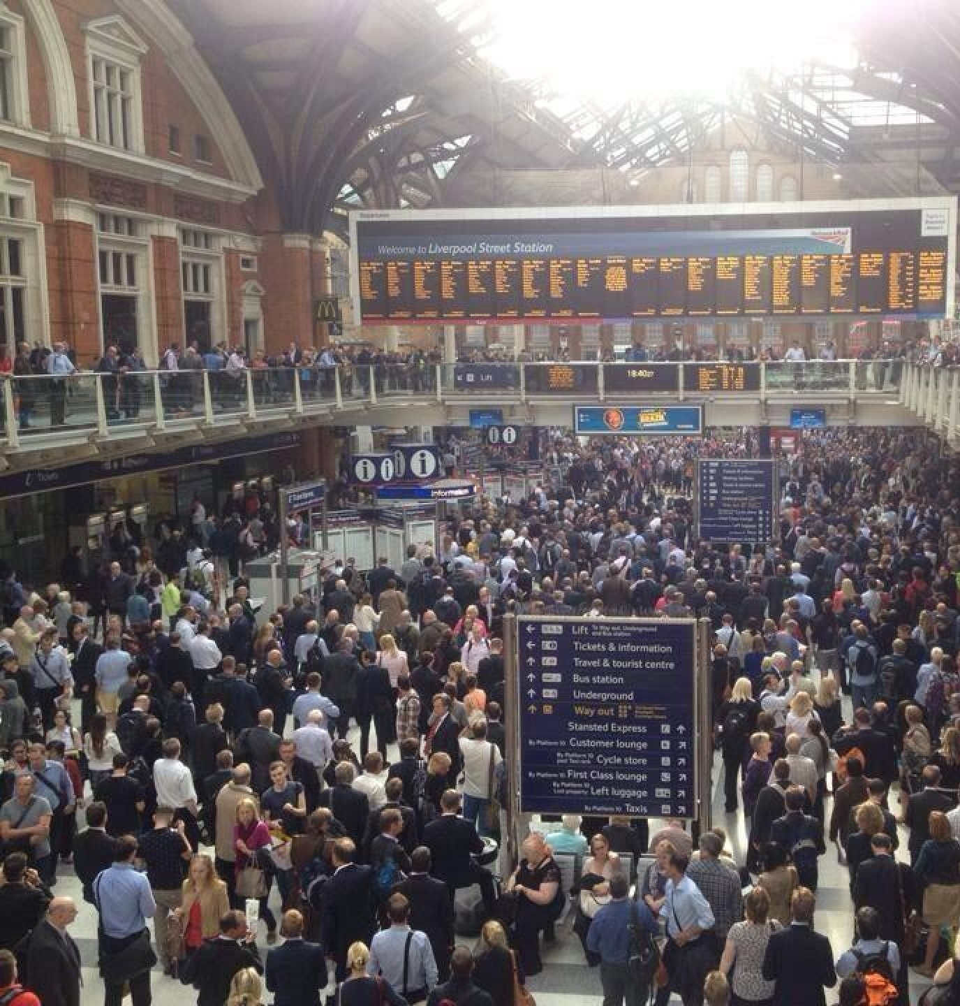 Image taken by commuter Jessica Lovell of Liverpool Street station yesterday evening