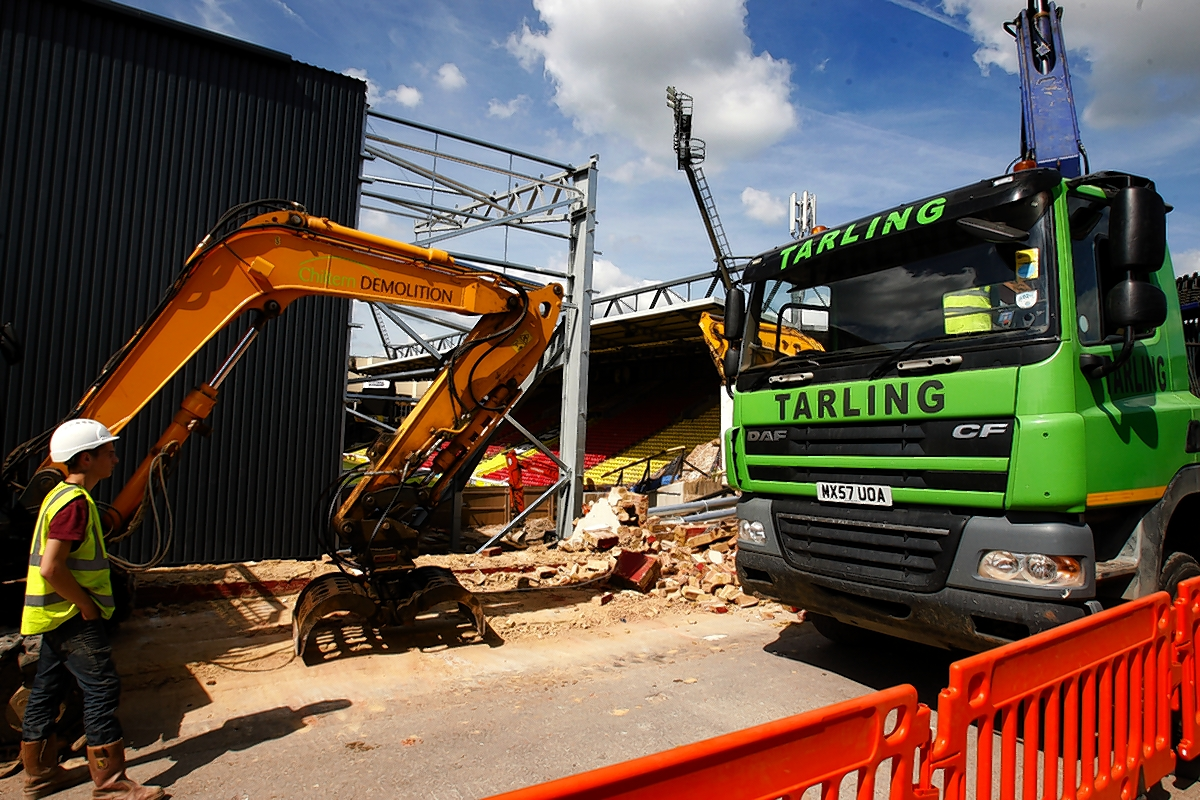 Picture of the demolition work at Vicarage Road, taken last week by Holly Cant.