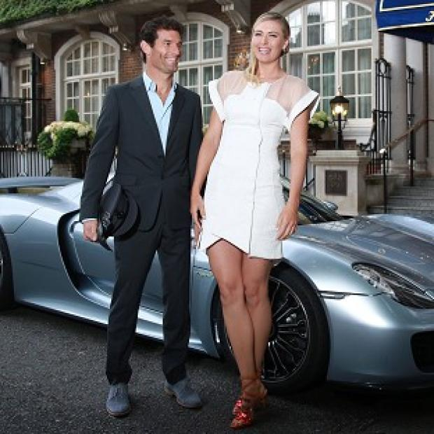 This Is Local London: Maria Sharapova is picked up by racing driver Mark Webber and driven to the Women's Tennis Association (WTA) Pre-Wimbledon Party