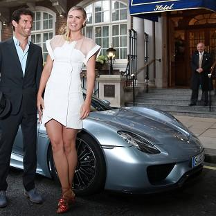 Maria Sharapova is picked up by racing driver Mark