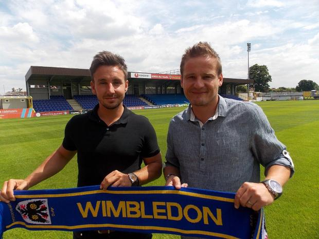 This Is Local London: Welcome aboard: Matt Tubbs,left, has signed a one-year loan deal at AFC Wimbledon after Neal Ardley, right, finally got his man