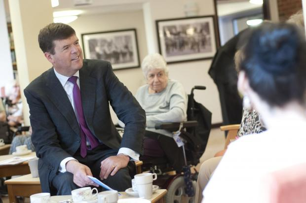 Paul Burstow MP chats with Admiral Court residents