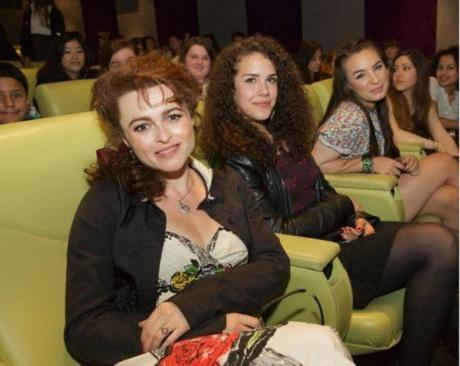 Helena Bonham Carter with AS Media Studies students Annie Bozhilova and Poppy Von Loeben