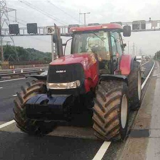 A red tractor has been seized after it was spotted being illegally driven on the M6 motorway. (Photo taken from the Twitter feed of @CMPG, the Central Motorway Police Group)