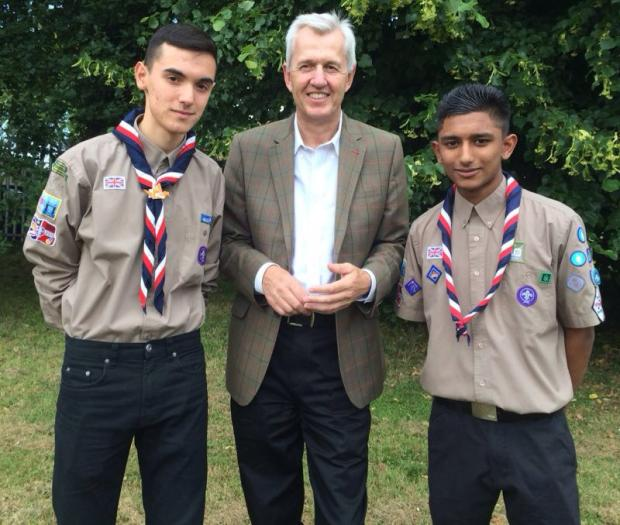 Enfield North MP Nick de Bois with scouts Julian Newman and