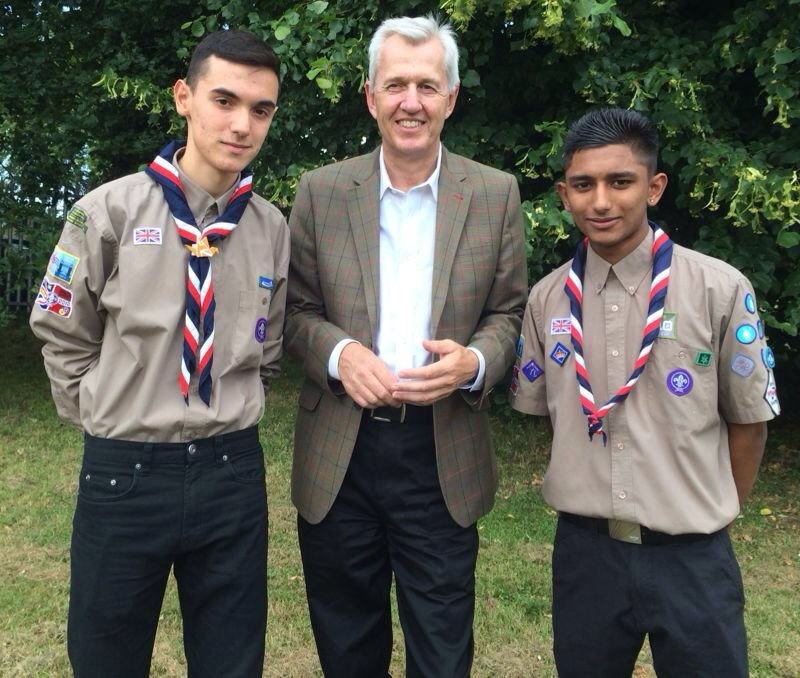 Enfield North MP Nick de Bois with scouts Julian Newman and Jagz Barth