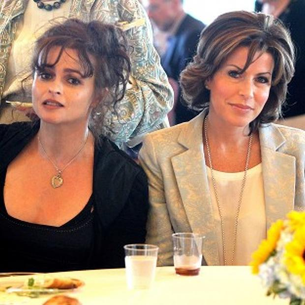This Is Local London: Natasha Kaplinsky (right) and Helena Bonham Carter during a visit to The Museum of Jewish Heritage in New York