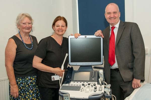 Bess Harding, Stephanie Easen and Julian Eyears with the equipment