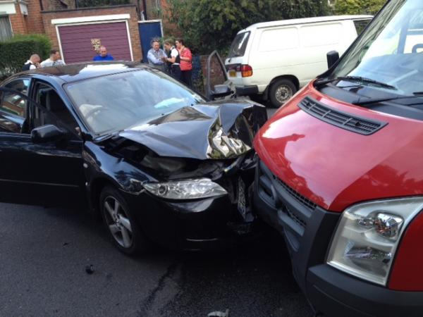 PICTURED: Head-on car crash in Burnt Ash Lane is latest in string of smashes