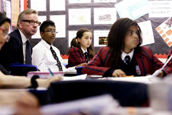 Education Secretary Michael Gove visits secondary school