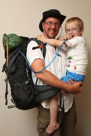 Ant Mattock with his four year-old George ahead of his charity walk
