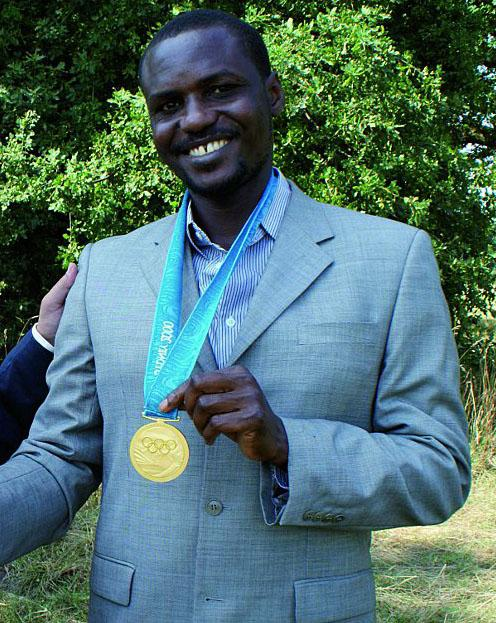 Golden man: Fidelis Gadzama with his Olympic medal