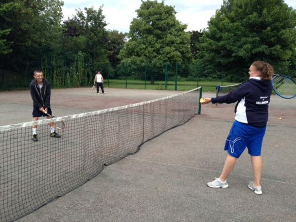 Anyone for tennis: youngsters practise at West Drayton