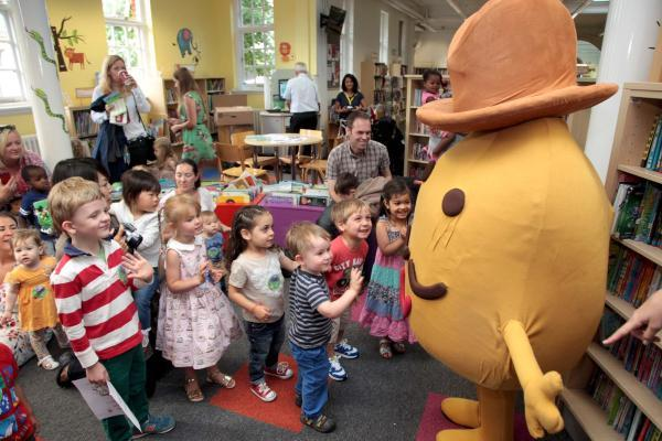 Mr Potato meeting fans in Wimbledon Library ahead of the upcoming show