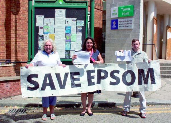 County councillor Tina Mountain, Jane Race and Daniel Race with the petition