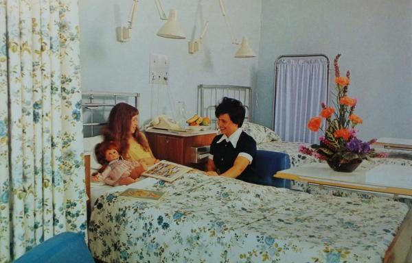 A patient room in the 1970s