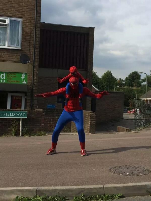 Spiderman and son in Mountfield Way, Orpington