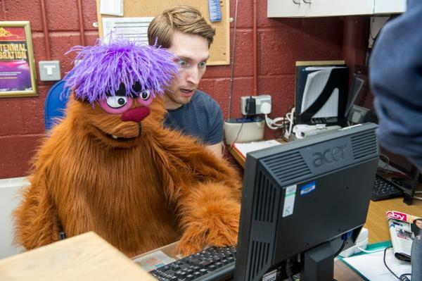Performer Stephen Arden and the Trekkie Monster at the New Wimbledon Theatre