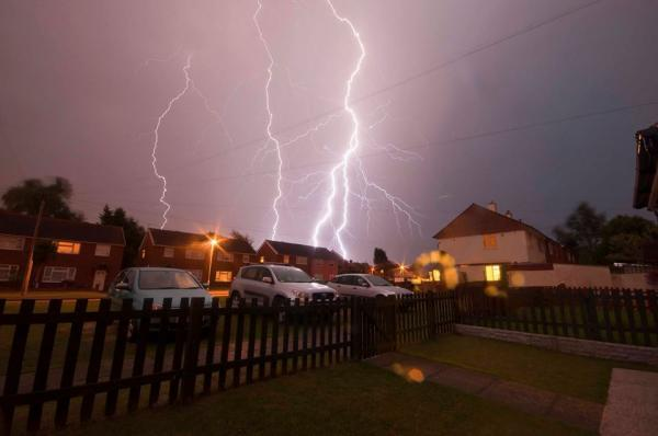 Lightning over Gravesend. Photo by Michael Perry