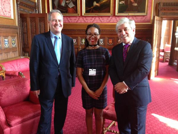 MP Bob Blackman, Maya C  and addle, from North London Collegiate School, Speaker of the House of Commons, John Bercow
