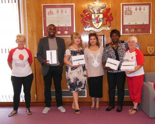 Pam Blake, Breathe Easy, Iseka Luala, Central African Youth in Enfield, Gill Antoniou, Home Start, Cllr Yasemin Brett, Audrey Lucas, Enfield Caribbean Association, and Sylvia Napier (Breathe Easy Enfield).