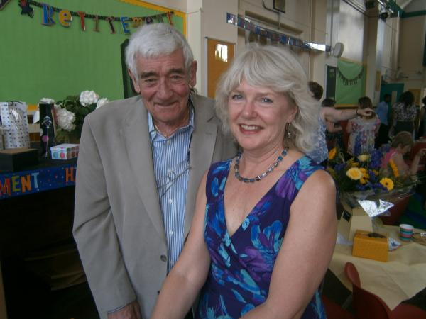 Brian Grayston and Sue Crisp celebrating many years as Bush Hill park primary school