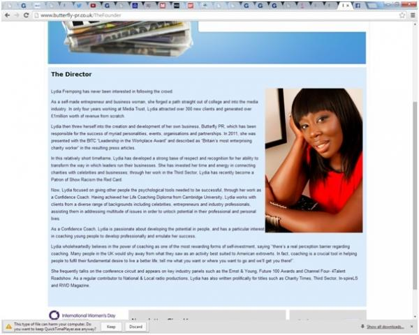 Busniness owner Frempong pretended to be unemployed yet put a picture of her face on her website