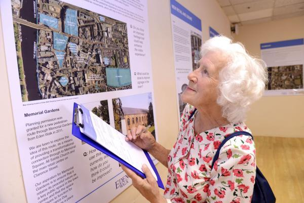 Shirley Carter studies the proposals for Eden Walk