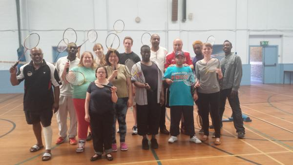 Members of Mencap at Black Arrows badminton club