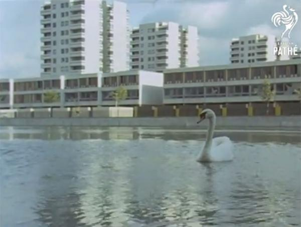 An image of new town Thamesmead back in 1969 as featured on the British Pathe archive
