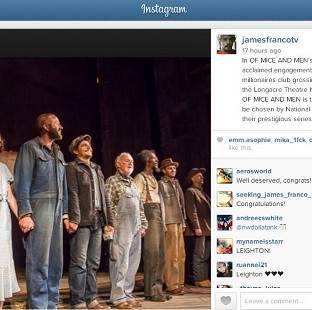 James Franco, Chris O'Dowd and Leighton Meester starred in the Broadway production of Of Mice And Men (Jame