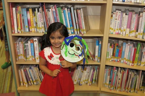 Three-year-old Milika Patel with her mask.