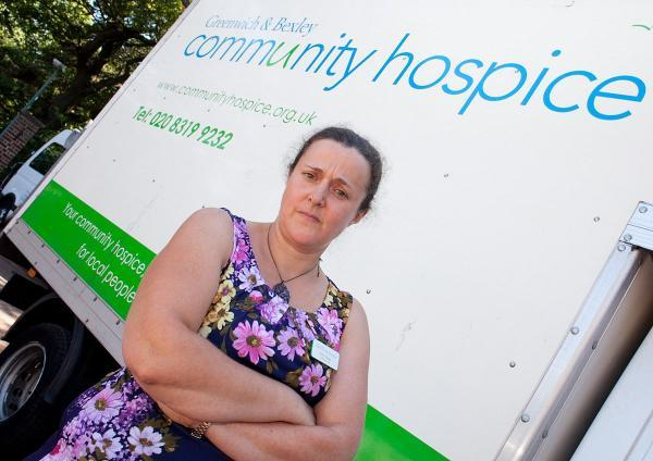 Kate Heaps with one of the hospice's real vans.