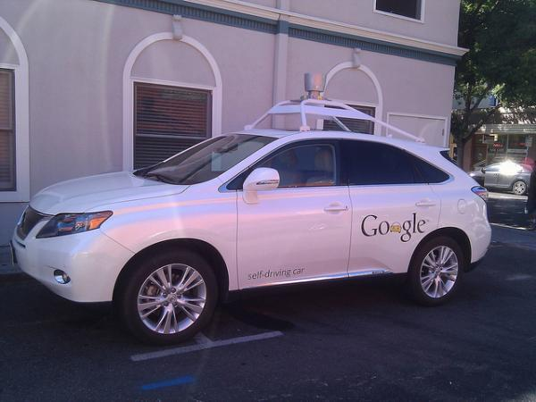 Google self-driving car in Mountain View: picture copyright Mark Doliner on Flickr and reproduced under Creative Commons licence