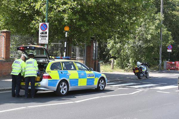 Police at the scene on Whipps Cross Road today.
