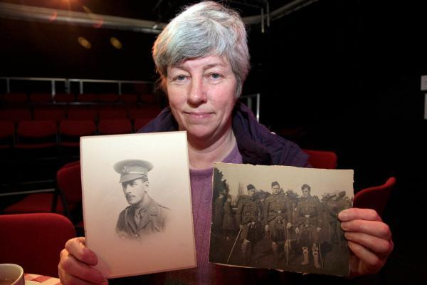 Rosemary Lever with pictures of her grandfather Robert Law