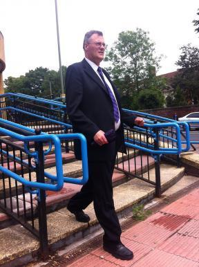 Ian Harrison outside Bromley Magistrates' Court after pleading guilty to sexual assault