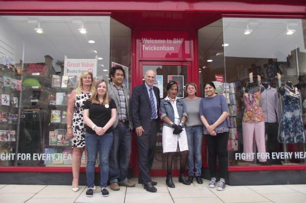 Working together: The BHF shop enjoyed a visit from their local MP