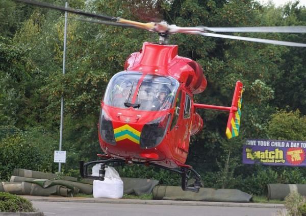 London's Air Ambulance takes off from Beckenham Goals yesterday morning. Photo: @_Thomasss_