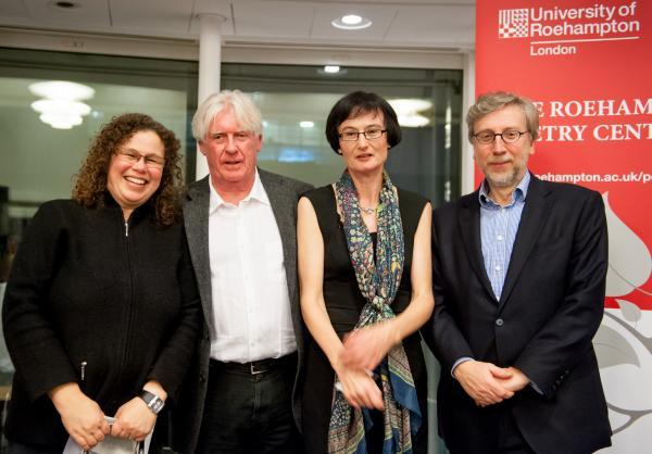 L-R: Dr Laura Peters, head of English and Creative Writing, professors David Harsent and Fiona Sampson and the Vice-Chancellor Professor Paul O'Prey.